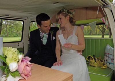 inside basil bus campervan wedding car croydon