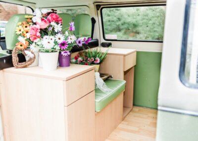 inside campervan wedding car buttercupbus