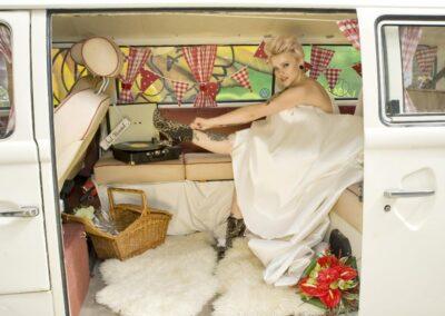 inside campervan wedding car pushka buttercupbus