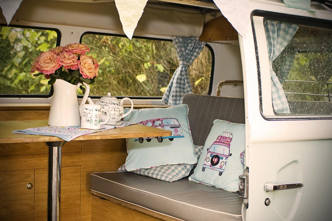 inside classic campervan for hire london