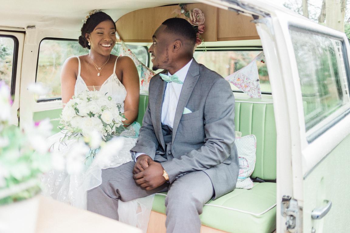 inside campervan wedding car