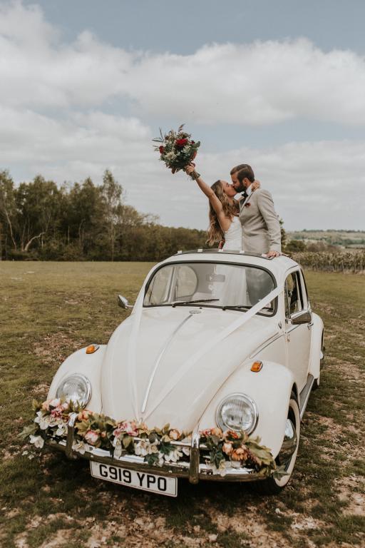 vw beetle convertible wedding car kent