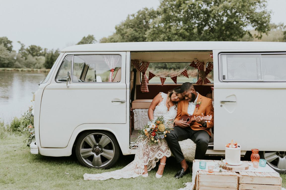 White wedding campervan Surrey Kent Sussex London