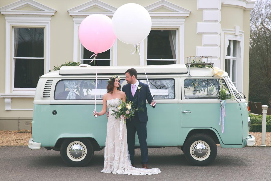 blue VW campervan wedding car surrey sussex kent london