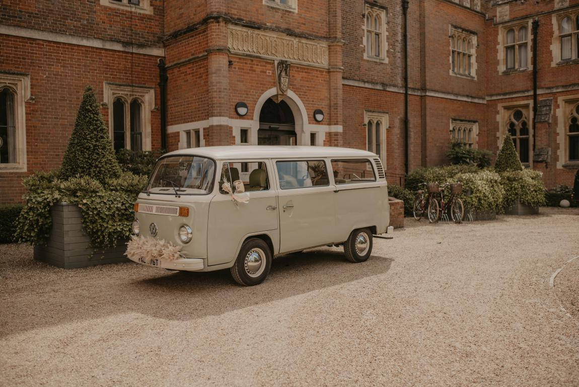 pastel green campervan wedding car hire surrey sussex kent London