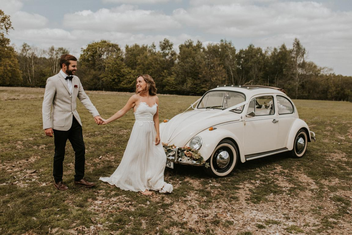 vw beetle wedding car kent surrey sussex london