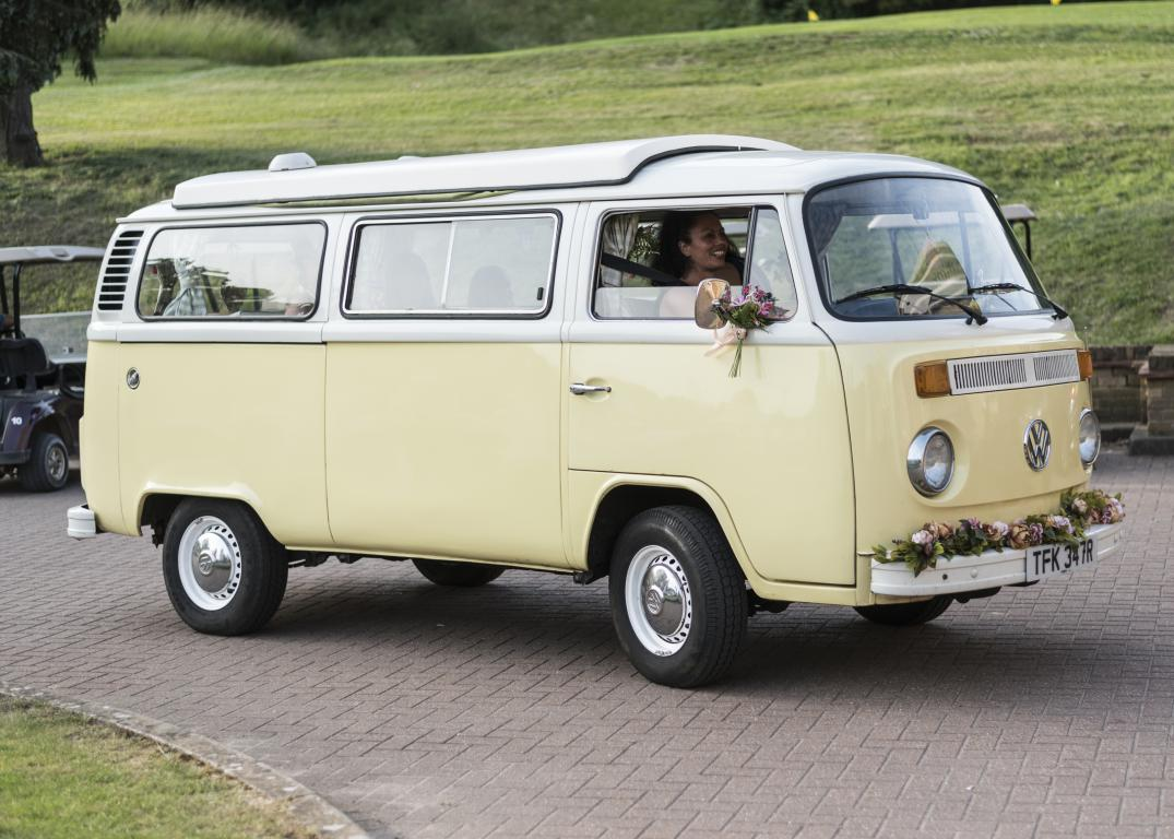 yellow classic campervan wedding transport hire London Surrey Kent Sussex