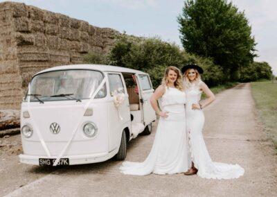 old style campervan wedding transport