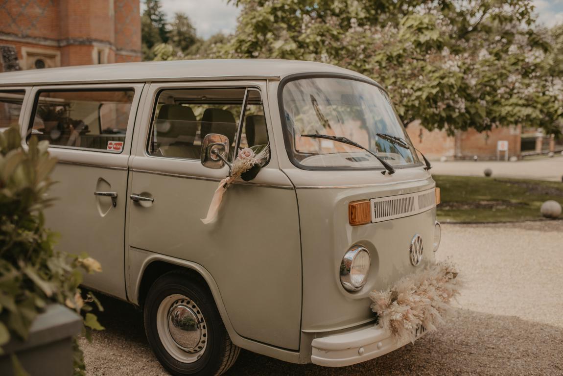 campervan wedding car with flowers