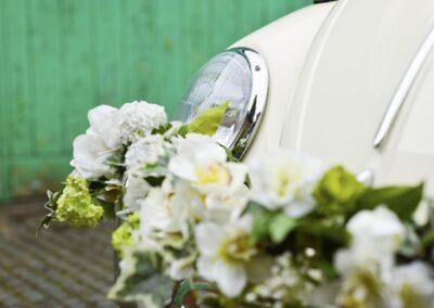 vw beetle wedding car with flowers