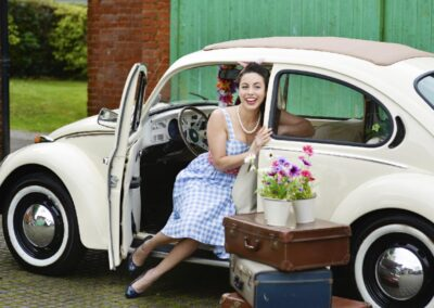 vw beetle white wedding car hire