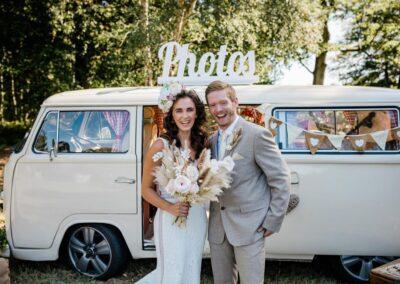 white campervan wedding