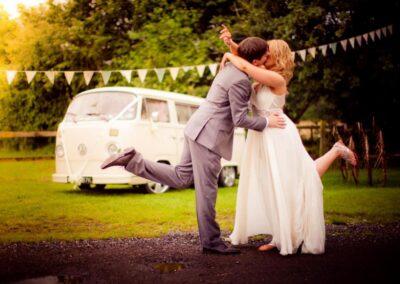 white campervan wedding car hire