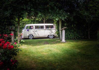 white vw campervan wedding car