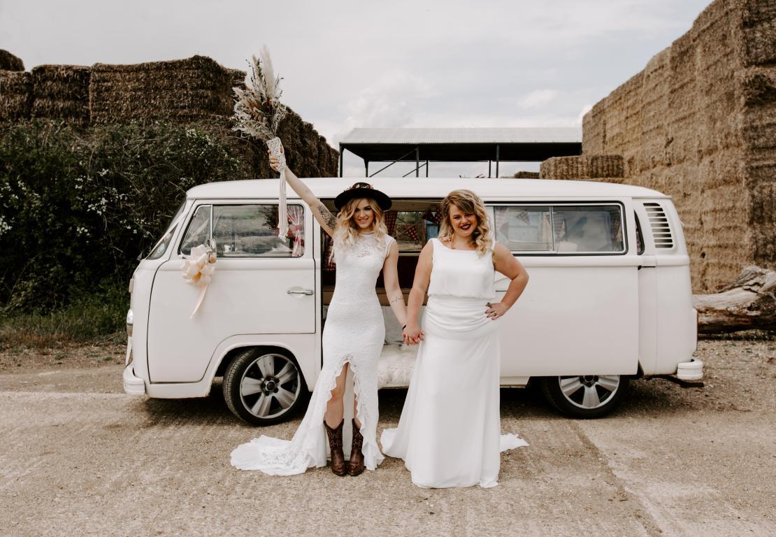 white wedding campervan surrey