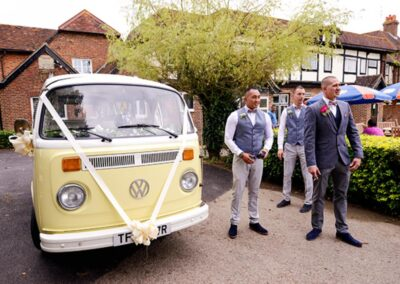 yellow campervan for a wedding surrey