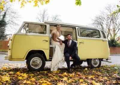yellow campervan wedding car