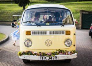 yellow campervan wedding car hire Surrey