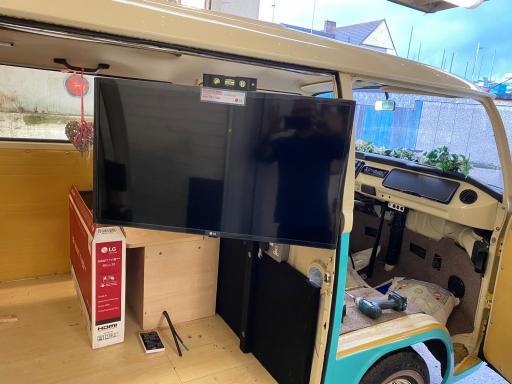 campervan cinema tv fitted branded pr
