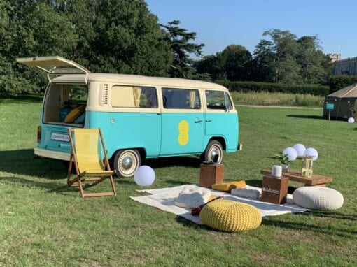 Branded campervan hire popup cinema