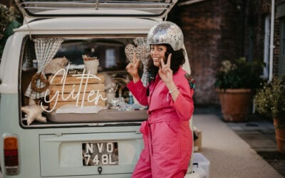 Campervan glitter bar Sussex shoot captured by Kent videographer