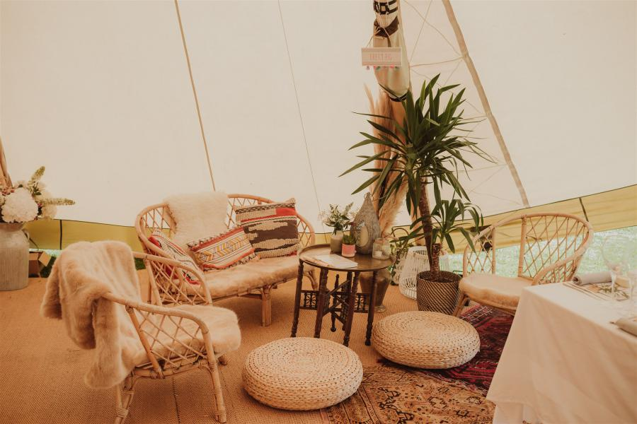 tipi hire with furnishings